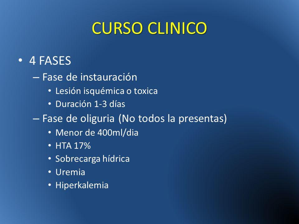 CURSO CLINICO 4 FASES Fase de instauración