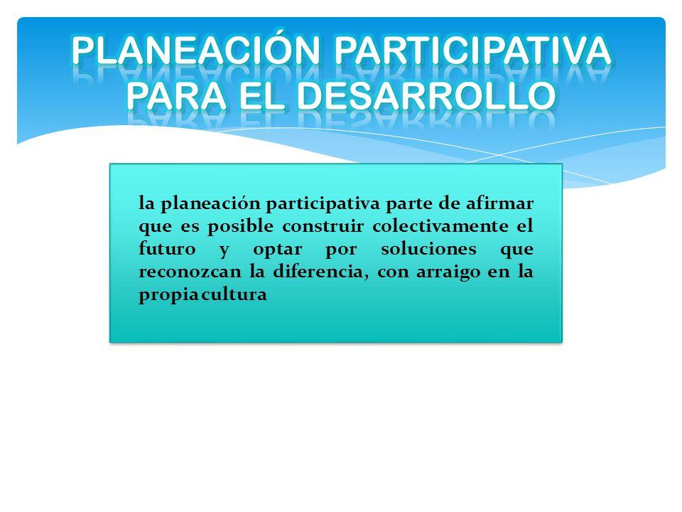 PLANEACIÓN PARTICIPATIVA PARA EL DESARROLLO