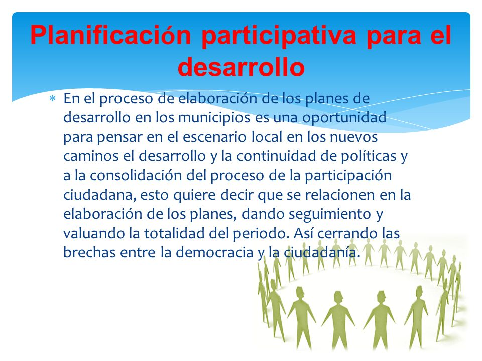 Planificación participativa para el desarrollo