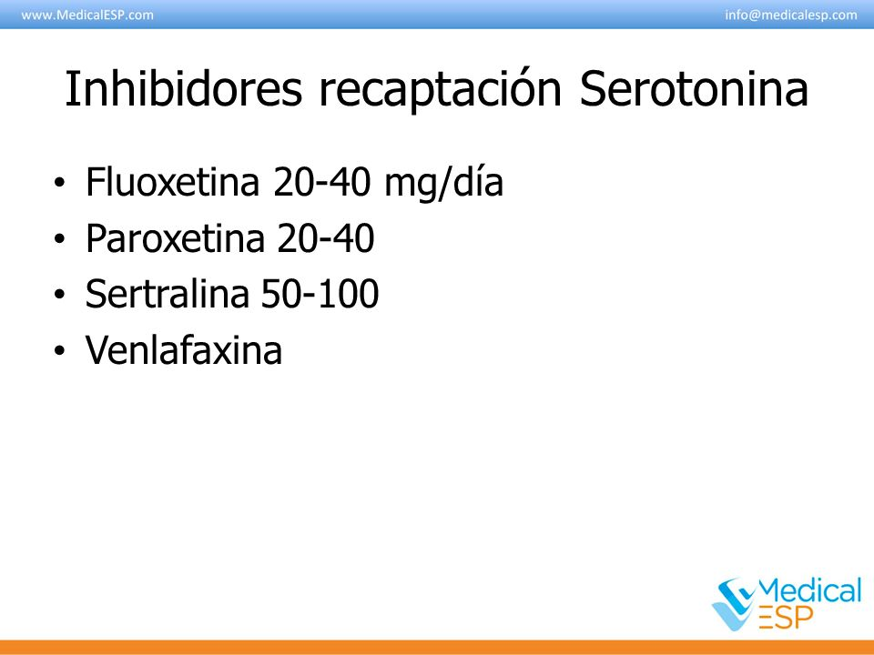 Inhibidores recaptación Serotonina