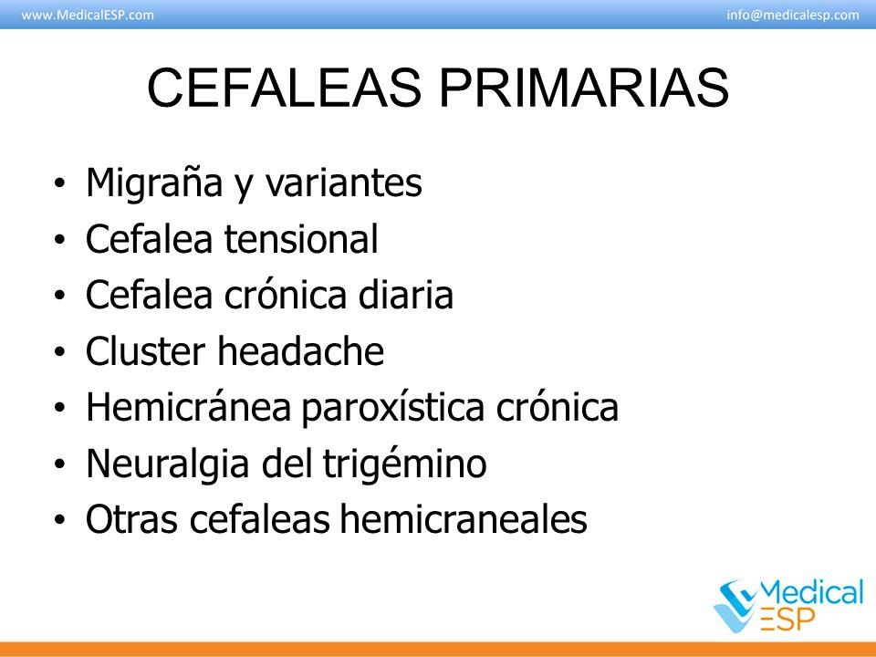 CEFALEAS PRIMARIAS Migraña y variantes Cefalea tensional