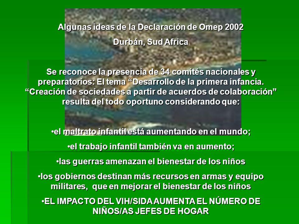 Algunas ideas de la Declaración de Omep 2002 Durbán, Sud Africa