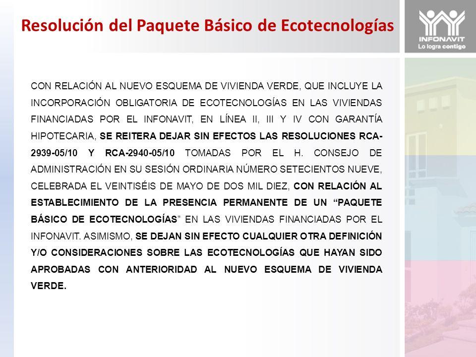 Resolución del Paquete Básico de Ecotecnologías