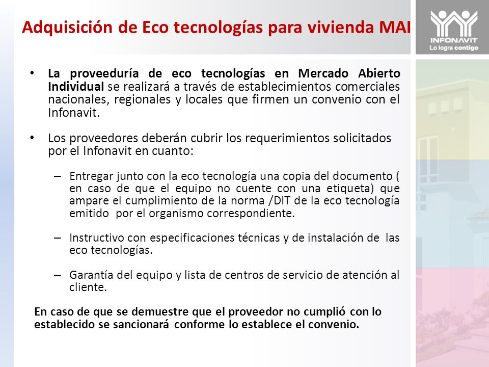 Adquisición de Eco tecnologías para vivienda MAI
