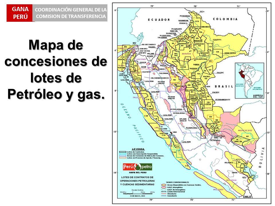 Mapa de concesiones de lotes de Petróleo y gas.