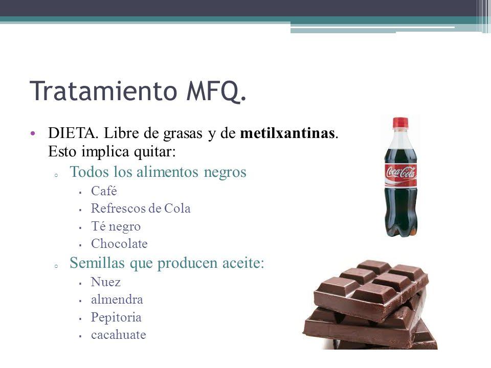 Tratamiento MFQ. DIETA. Libre de grasas y de metilxantinas. Esto implica quitar: Todos los alimentos negros.