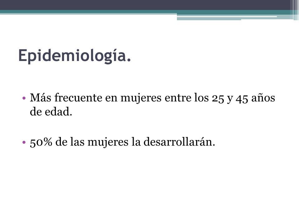 Epidemiología. Más frecuente en mujeres entre los 25 y 45 años de edad.