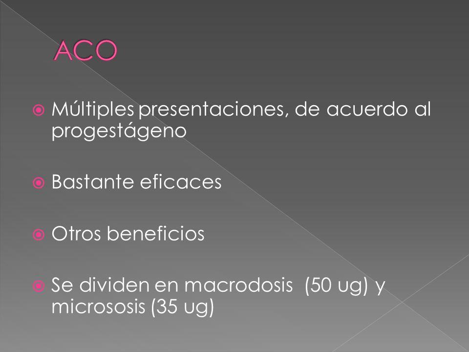 ACO Múltiples presentaciones, de acuerdo al progestágeno