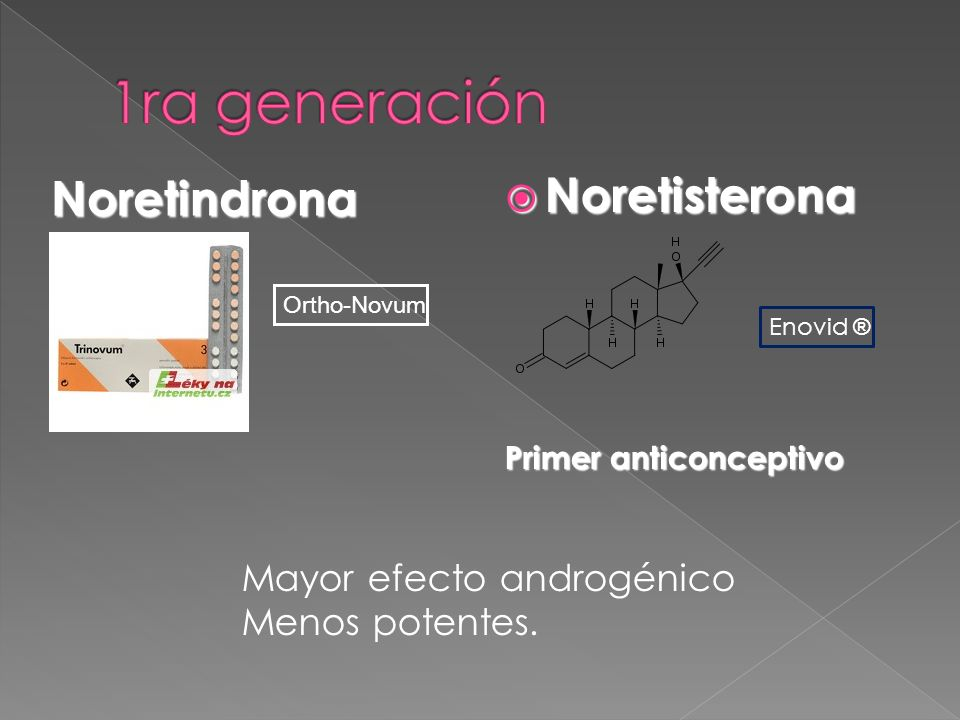 1ra generación Noretisterona Noretindrona Mayor efecto androgénico