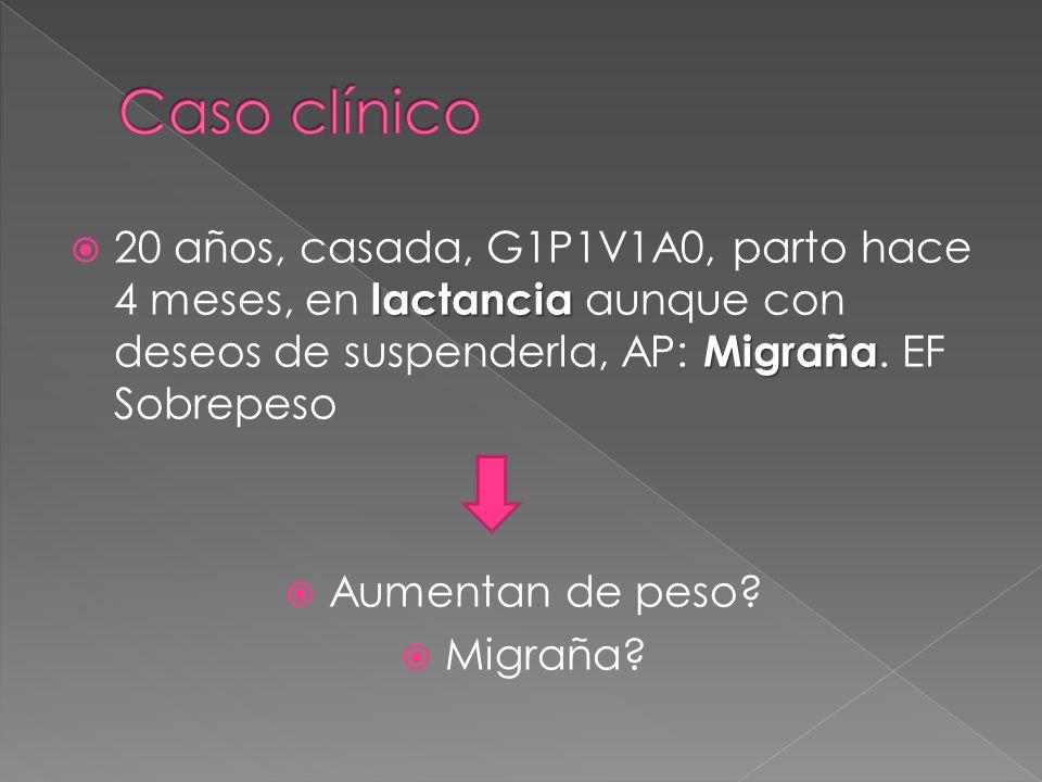 Caso clínico 20 años, casada, G1P1V1A0, parto hace 4 meses, en lactancia aunque con deseos de suspenderla, AP: Migraña. EF Sobrepeso.