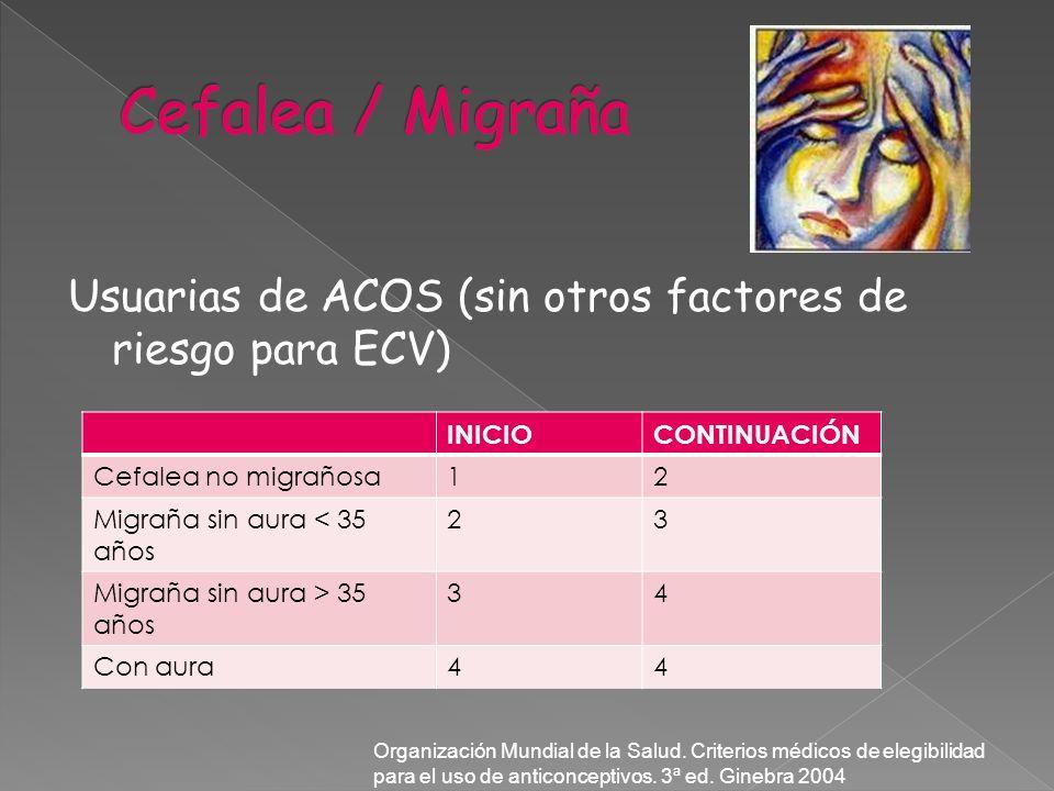 Cefalea / Migraña Usuarias de ACOS (sin otros factores de riesgo para ECV) INICIO. CONTINUACIÓN. Cefalea no migrañosa.