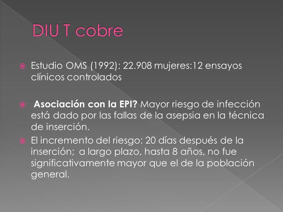 DIU T cobre Estudio OMS (1992): 22.908 mujeres:12 ensayos clínicos controlados.