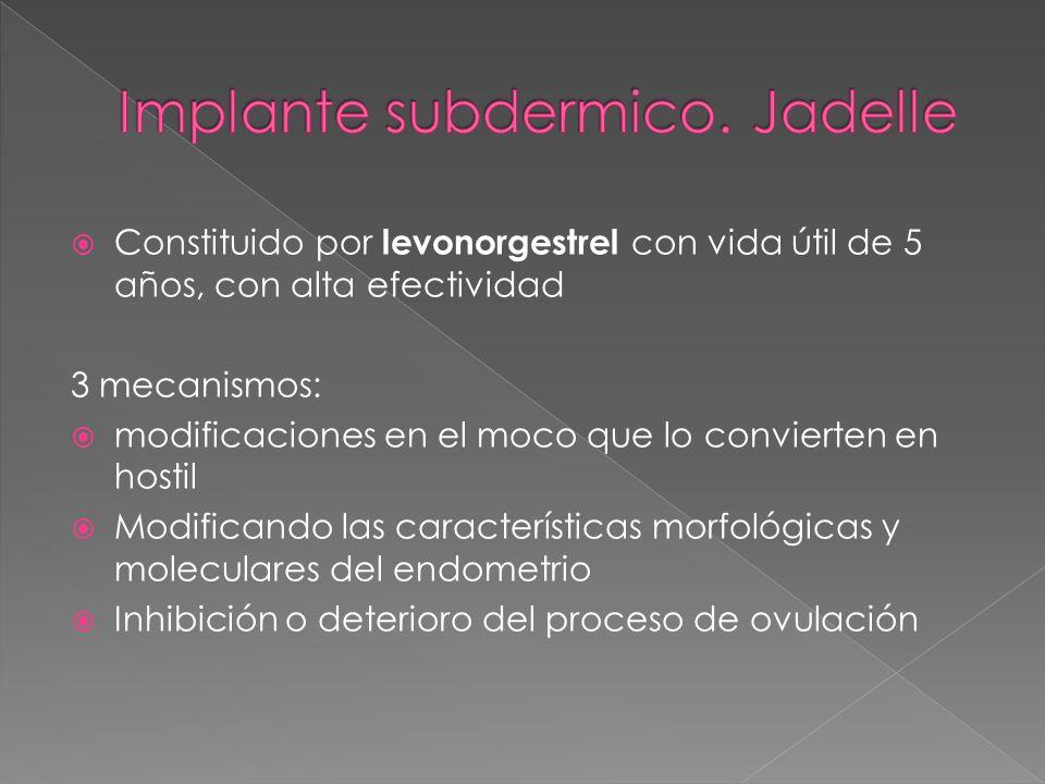 Implante subdermico. Jadelle