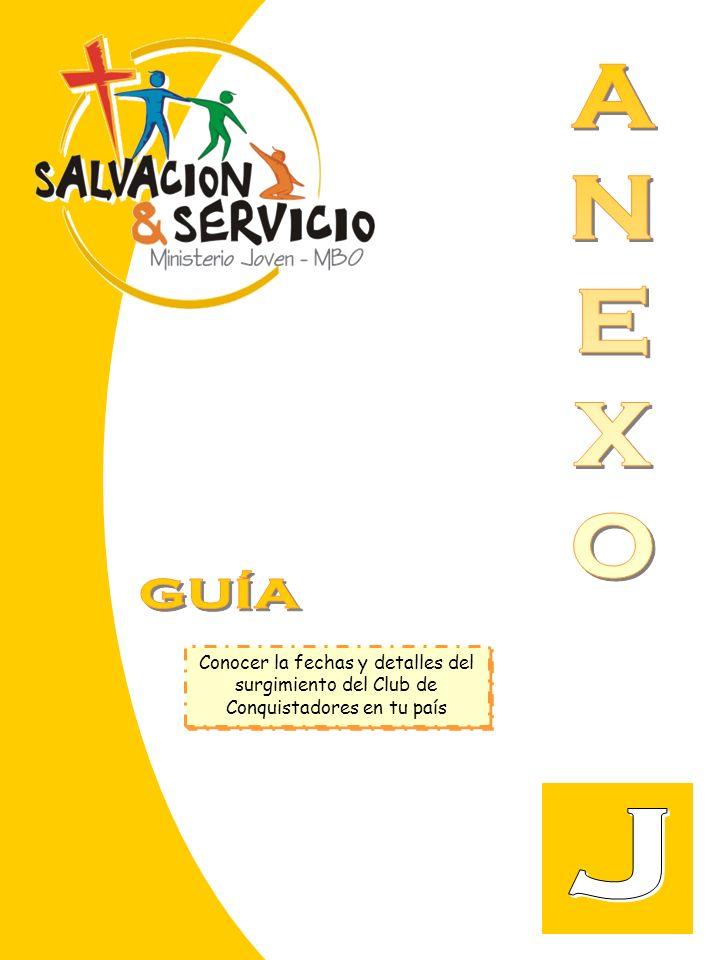 A N E X O GUÍA Conocer la fechas y detalles del surgimiento del Club de Conquistadores en tu país J
