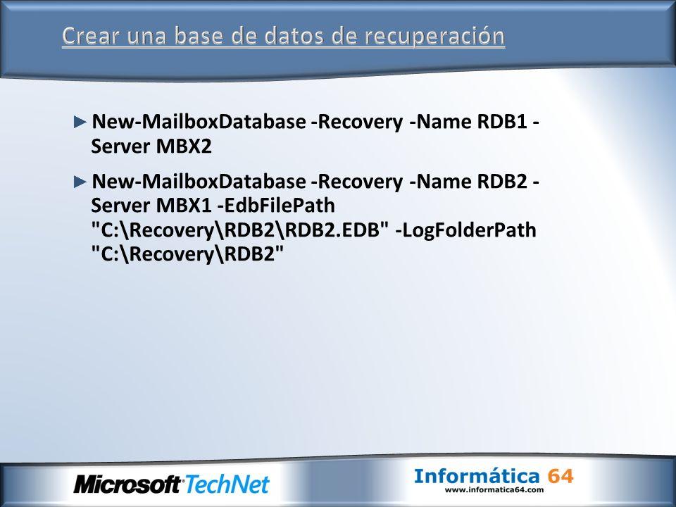 Crear una base de datos de recuperación