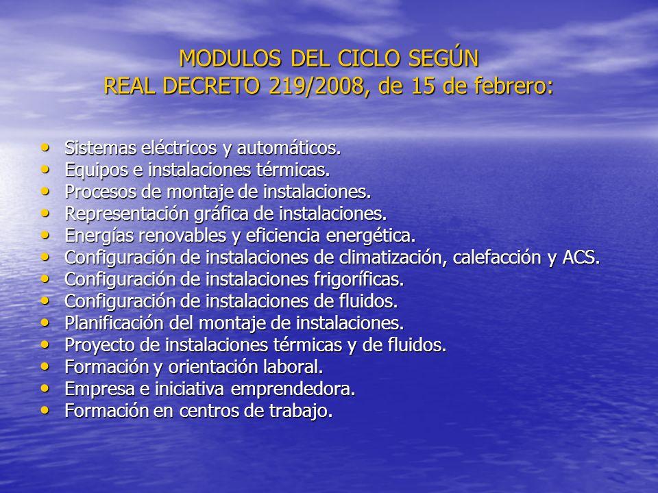 MODULOS DEL CICLO SEGÚN REAL DECRETO 219/2008, de 15 de febrero:
