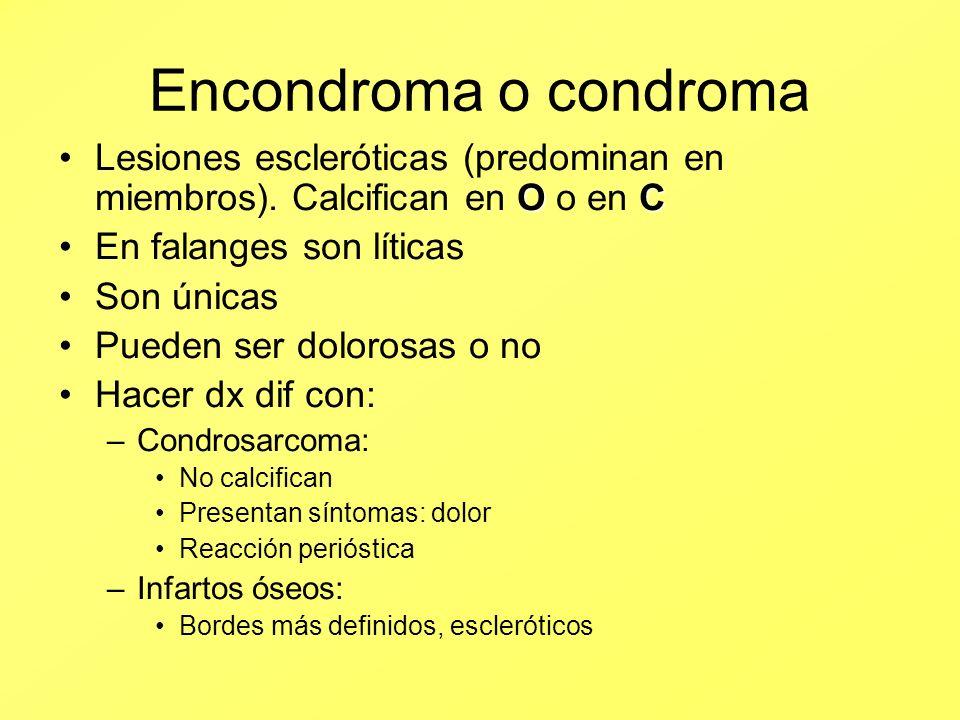 Encondroma o condroma Lesiones escleróticas (predominan en miembros). Calcifican en O o en C. En falanges son líticas.