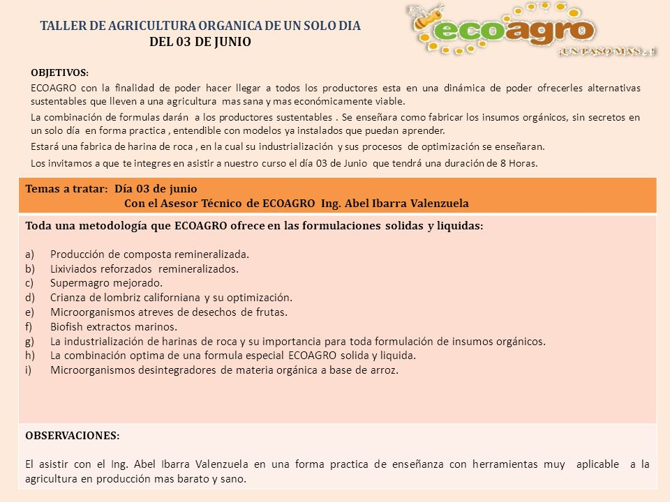 TALLER DE AGRICULTURA ORGANICA DE UN SOLO DIA DEL 03 DE JUNIO