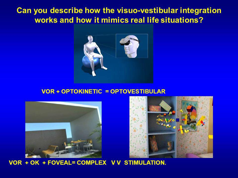 Can you describe how the visuo-vestibular integration works and how it mimics real life situations