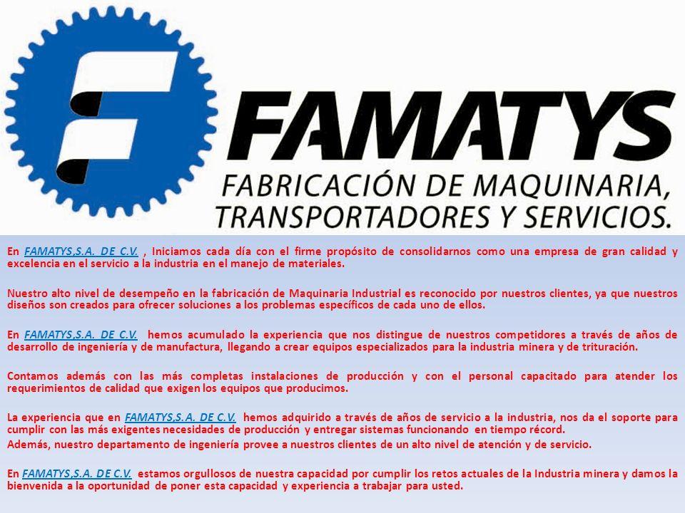 En FAMATYS,S.A. DE C.V. , Iniciamos cada día con el firme propósito de consolidarnos como una empresa de gran calidad y excelencia en el servicio a la industria en el manejo de materiales.