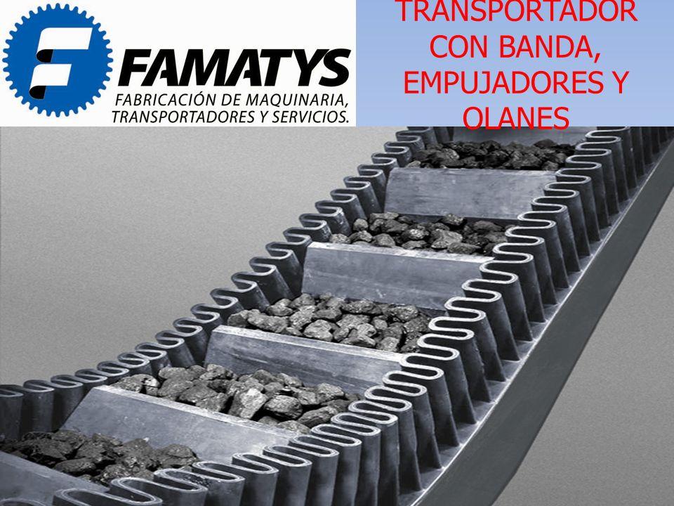TRANSPORTADOR CON BANDA, EMPUJADORES Y OLANES