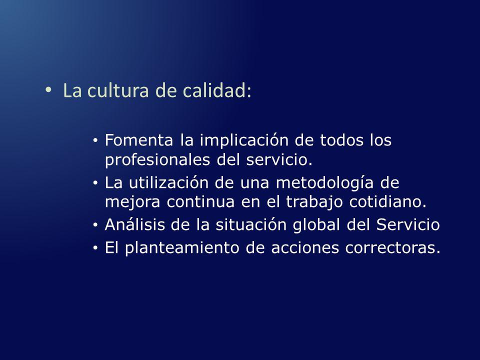 La cultura de calidad: Fomenta la implicación de todos los profesionales del servicio.