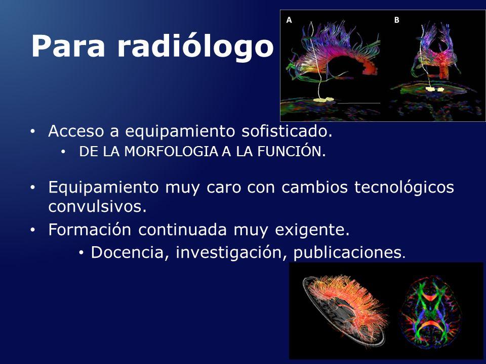 Para radiólogo Acceso a equipamiento sofisticado.