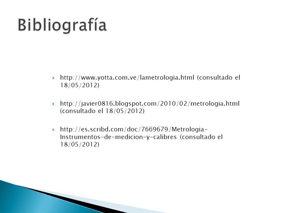 Bibliografía http://www.yotta.com.ve/lametrologia.html (consultado el 18/05/2012)