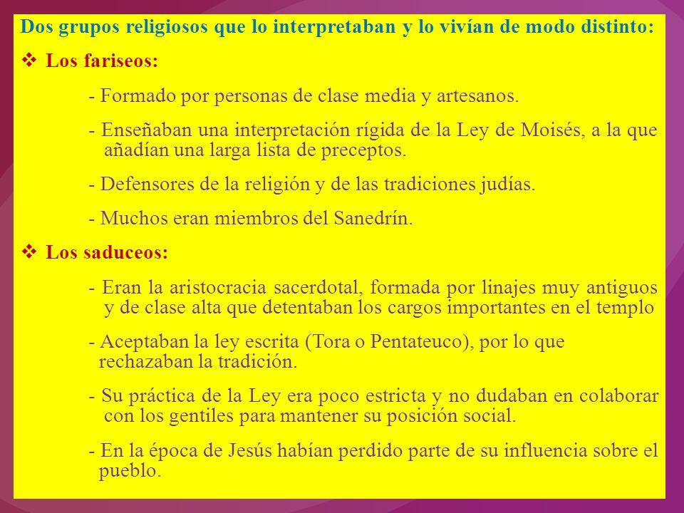 Dos grupos religiosos que lo interpretaban y lo vivían de modo distinto: