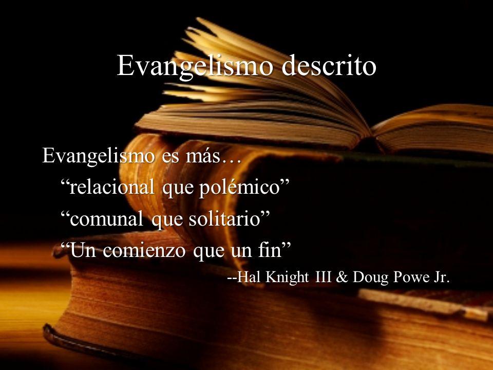 Evangelismo descrito Evangelismo es más… relacional que polémico