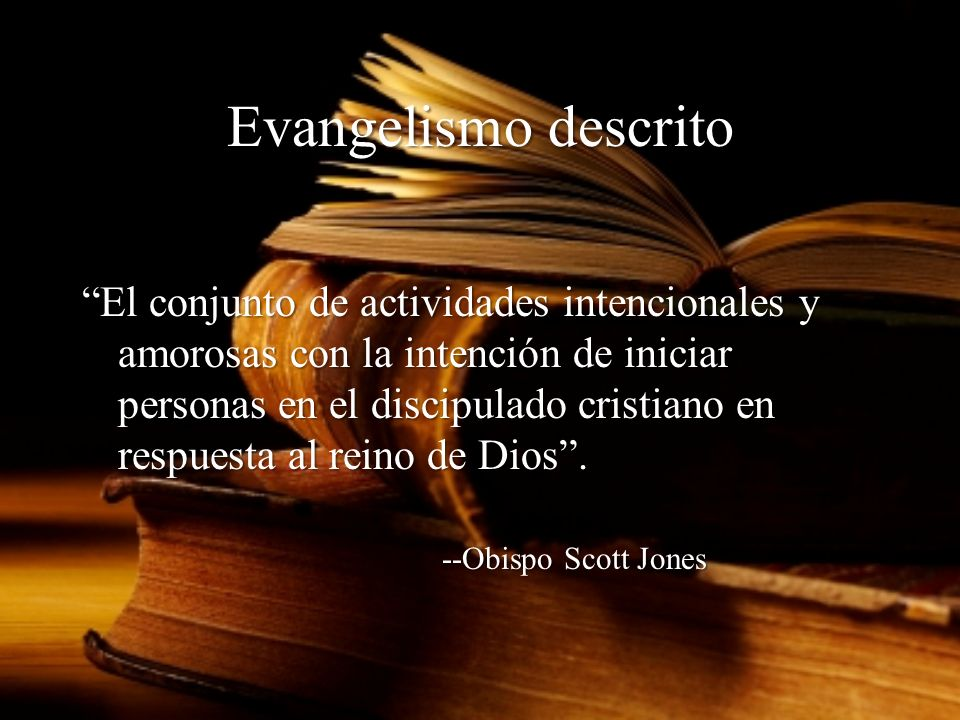 Module 3, Leader's Notes Slide 25. Evangelismo descrito.