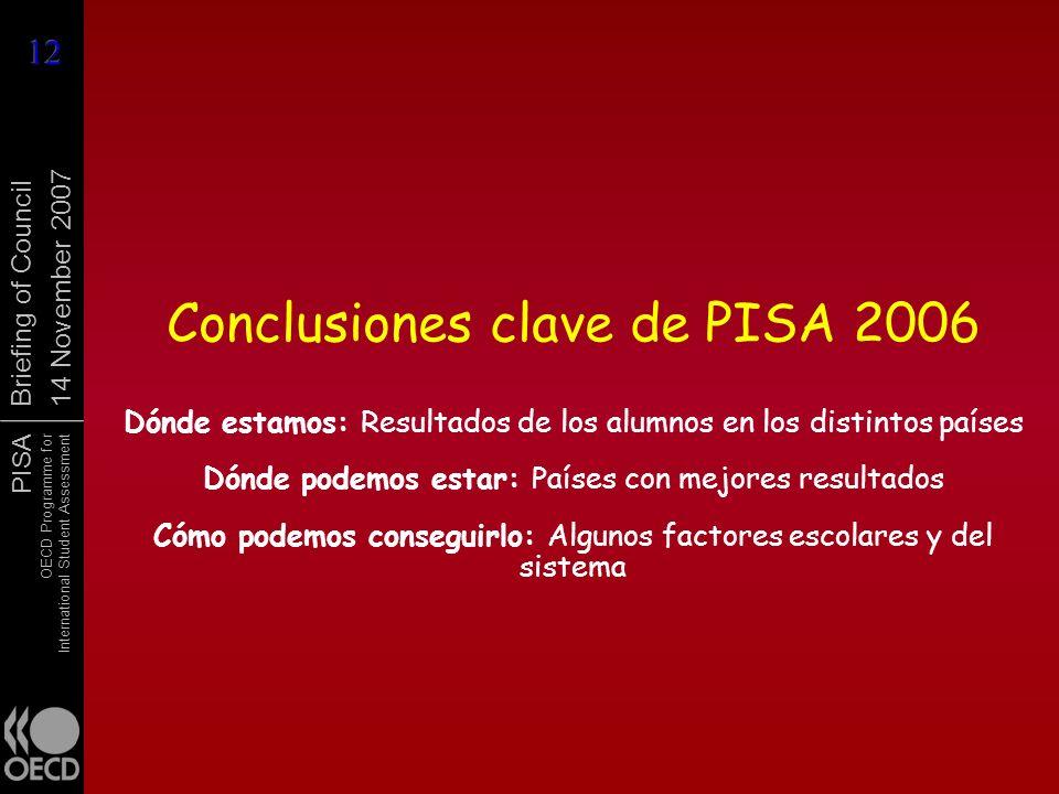 Conclusiones clave de PISA 2006