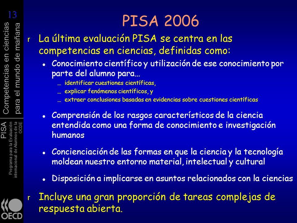 PISA 2006 La última evaluación PISA se centra en las competencias en ciencias, definidas como: