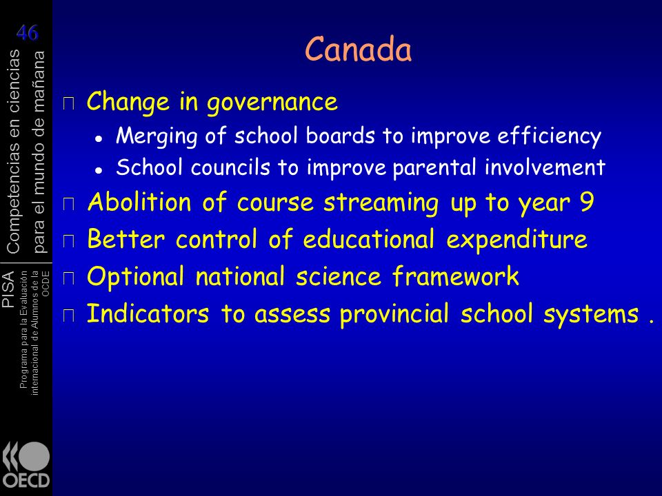 Canada Change in governance Abolition of course streaming up to year 9
