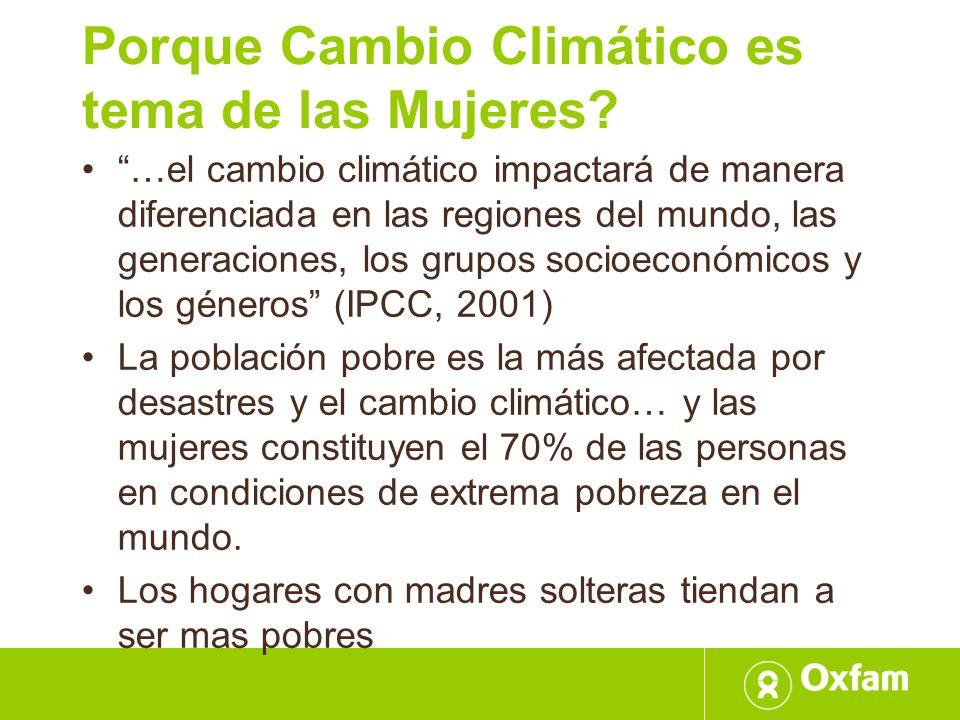 Porque Cambio Climático es tema de las Mujeres