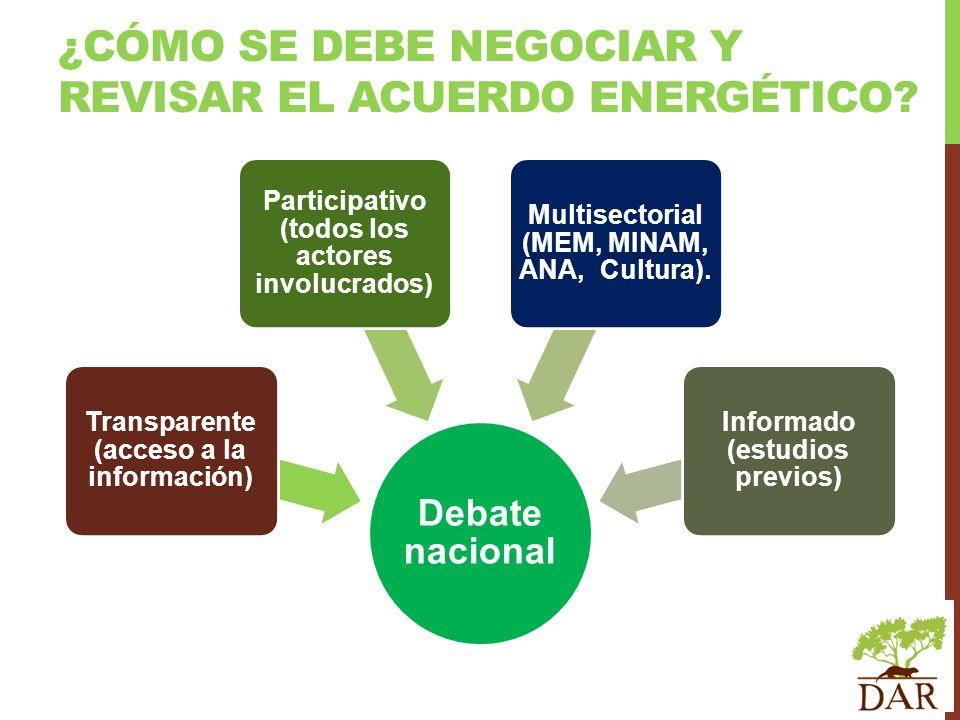 ¿Cómo se debe negociar y revisar el Acuerdo Energético