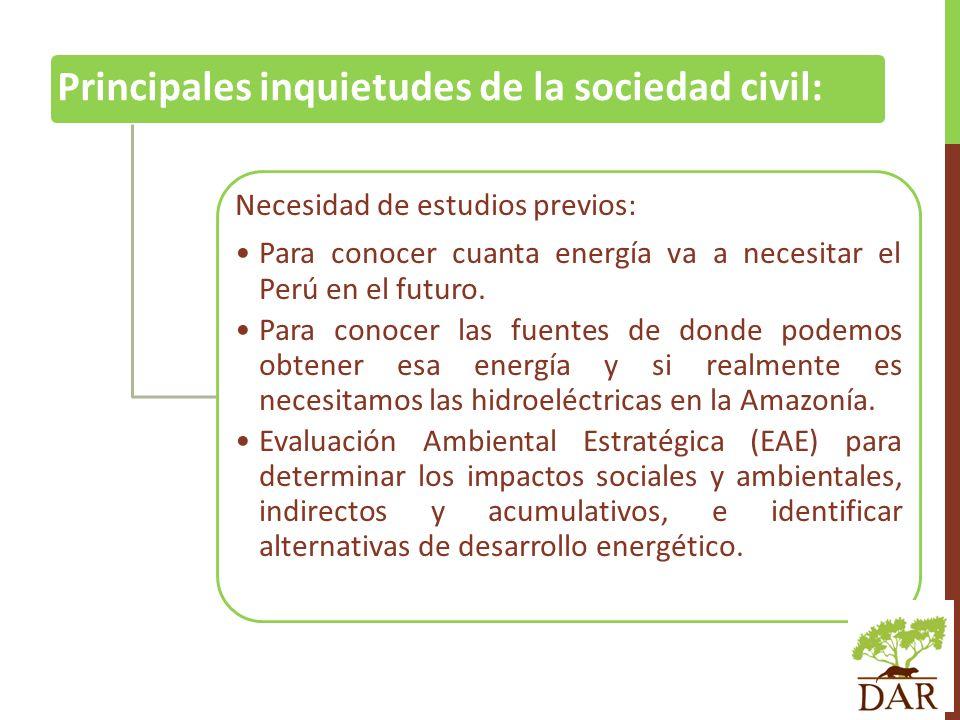 Principales inquietudes de la sociedad civil: