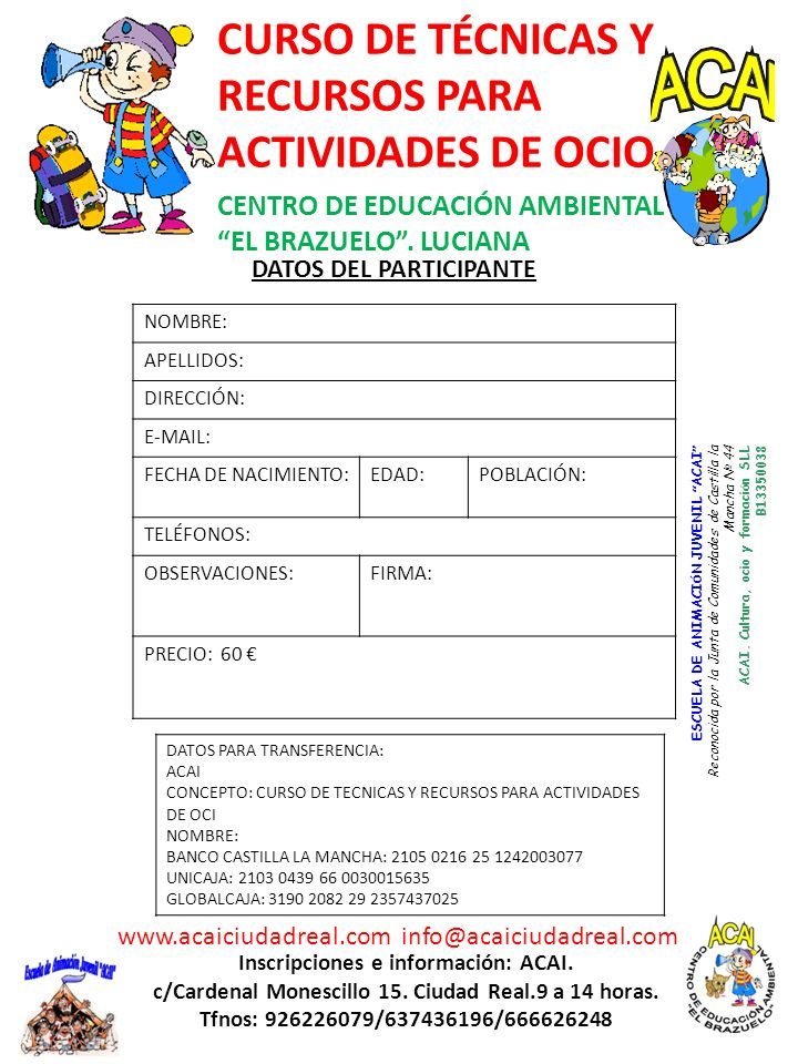 CURSO DE TÉCNICAS Y RECURSOS PARA ACTIVIDADES DE OCIO