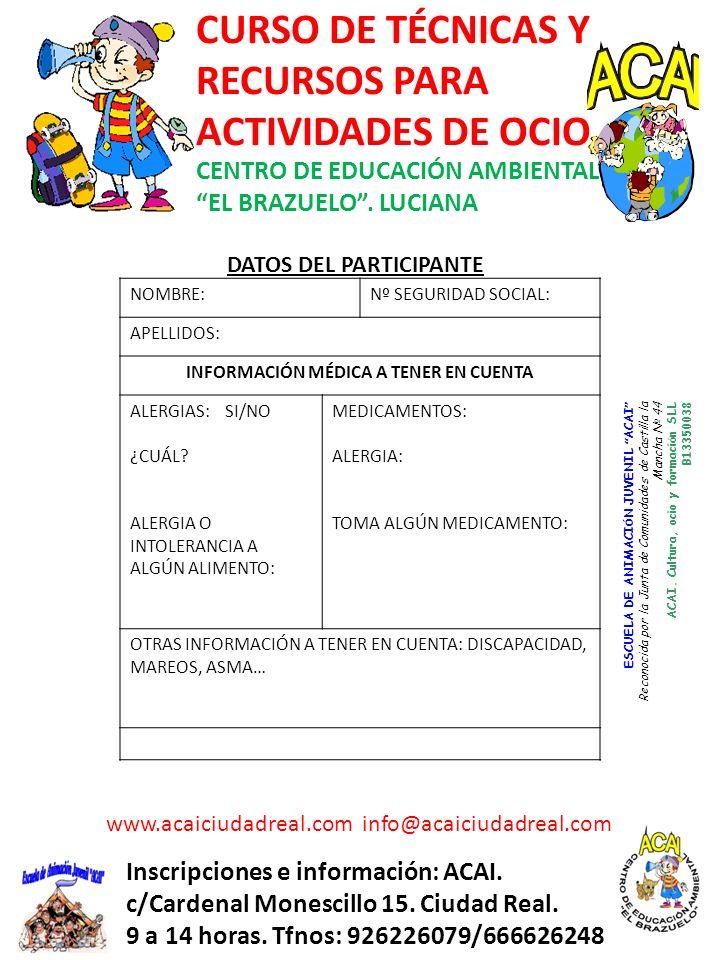 DATOS DEL PARTICIPANTE INFORMACIÓN MÉDICA A TENER EN CUENTA
