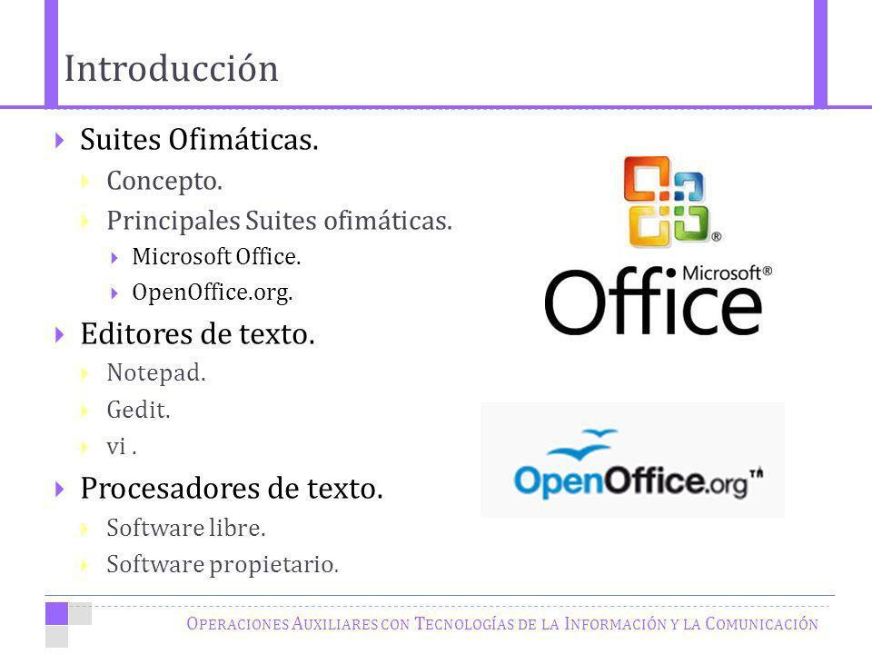 Introducción Suites Ofimáticas. Editores de texto.