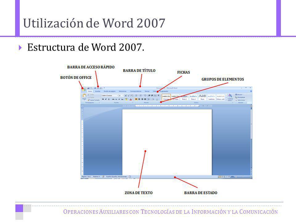 Utilización de Word 2007 Estructura de Word 2007.