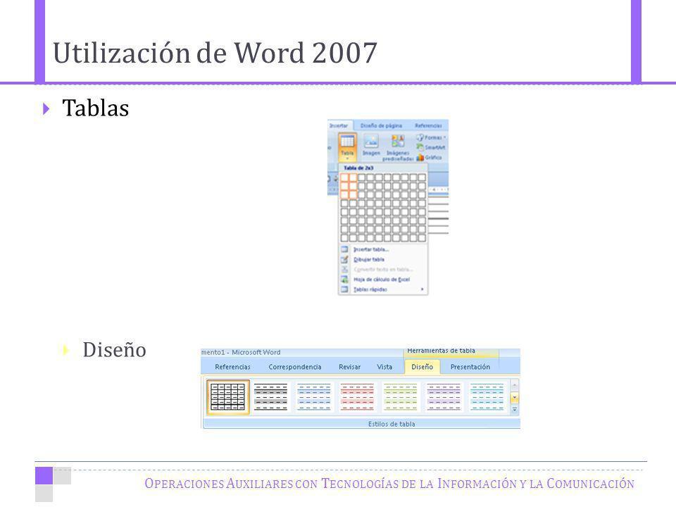 Utilización de Word 2007 Tablas Diseño