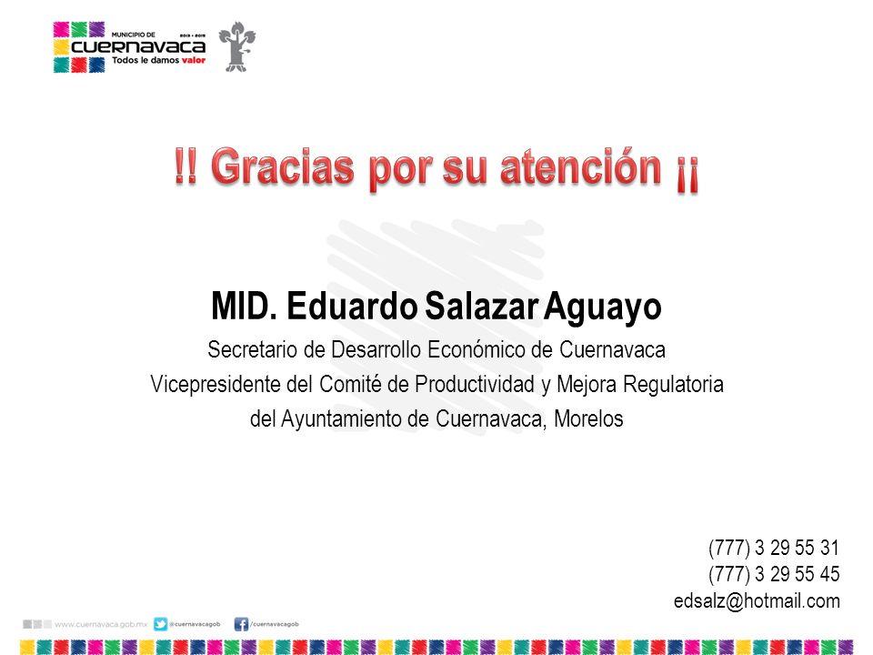 !! Gracias por su atención ¡¡ MID. Eduardo Salazar Aguayo