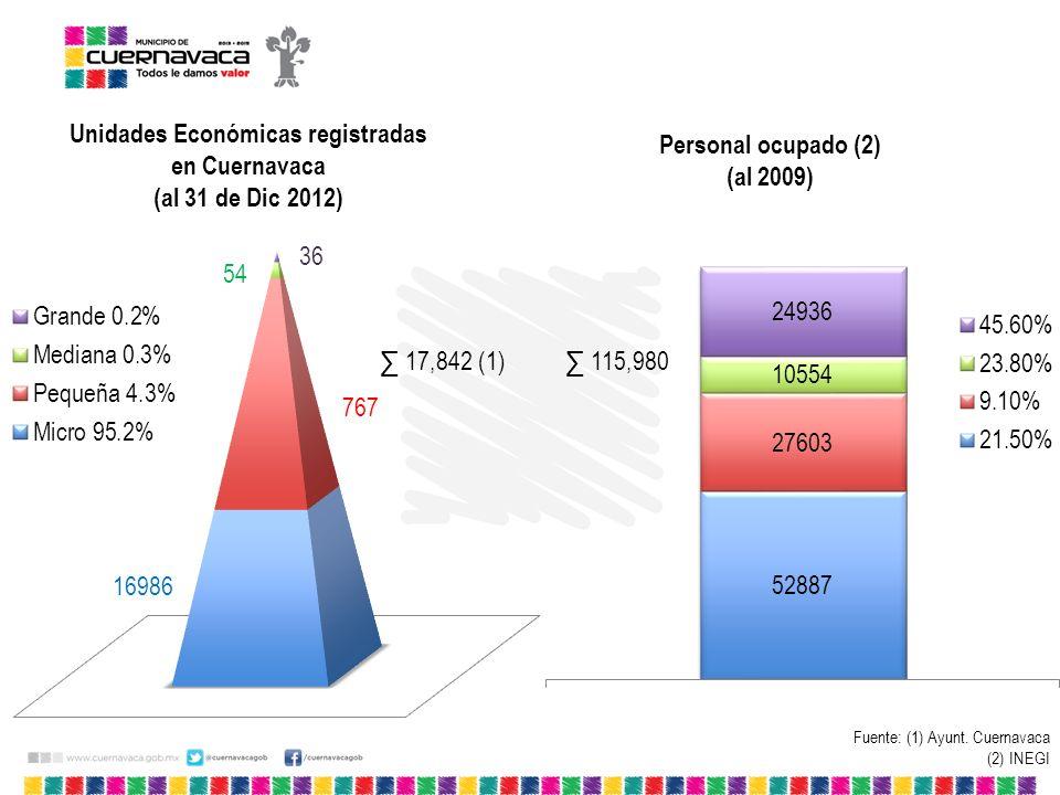 Unidades Económicas registradas en Cuernavaca