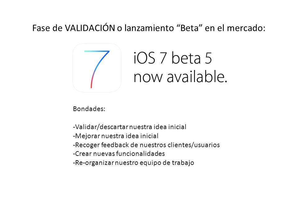 Fase de VALIDACIÓN o lanzamiento Beta en el mercado: