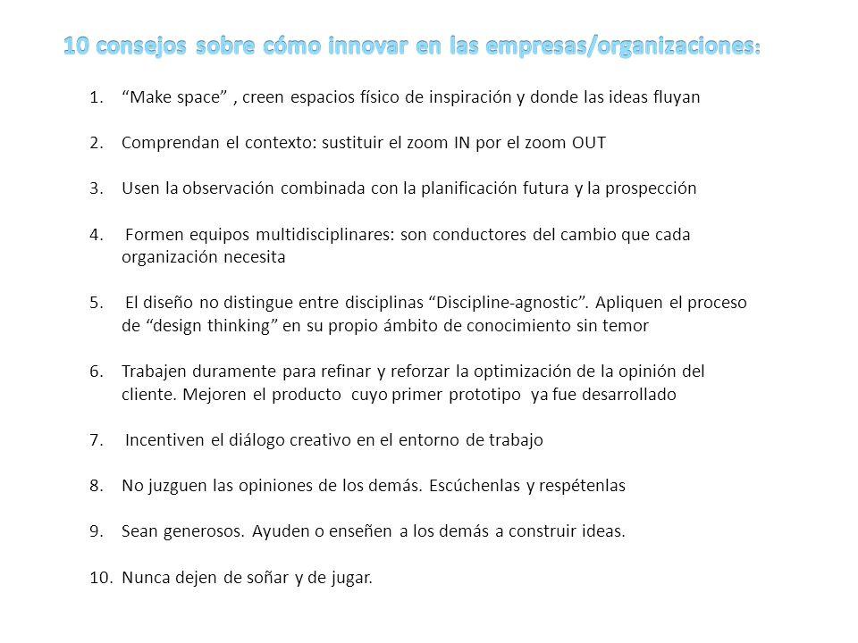 10 consejos sobre cómo innovar en las empresas/organizaciones: