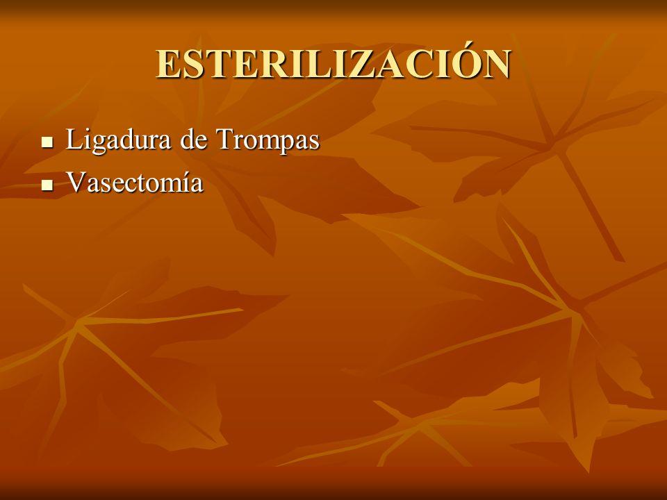ESTERILIZACIÓN Ligadura de Trompas Vasectomía