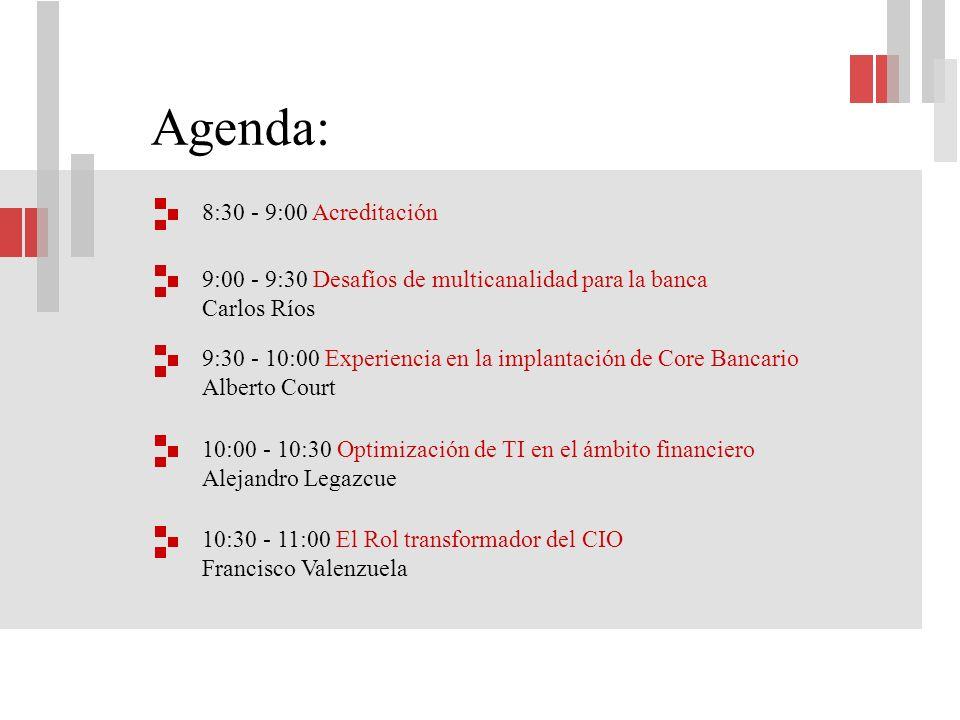 Agenda: 8:30 - 9:00 Acreditación