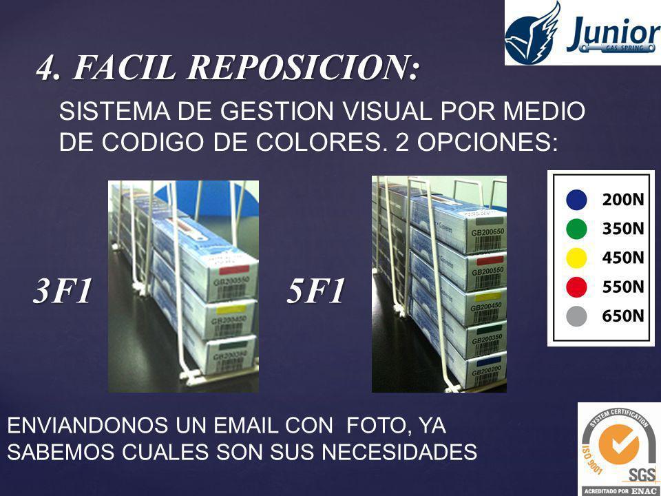 4. FACIL REPOSICION: SISTEMA DE GESTION VISUAL POR MEDIO DE CODIGO DE COLORES. 2 OPCIONES: 3F1. 5F1.