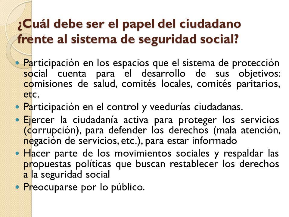 ¿Cuál debe ser el papel del ciudadano frente al sistema de seguridad social